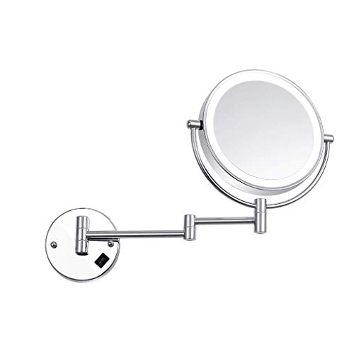 XYSQWZ Makeup Mirror 8-inch Bathroom Wall Hanging Lamp Mirror Led Fill Light Double-sided 3x Magnifying Beauty Mirror Lighted (color : Silver Size : 8 Inches 3x