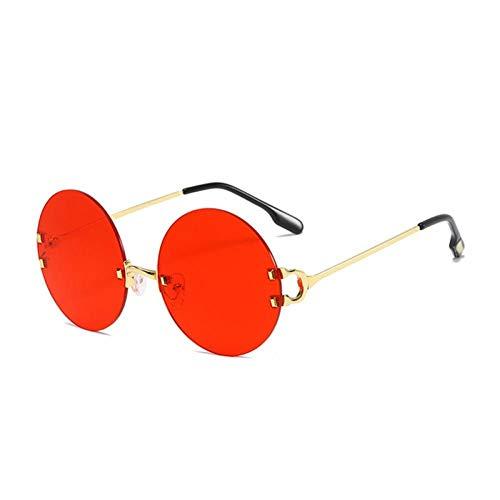 ZZOW Gafas De Sol Redondas Sin Montura para Mujer Diseñador De La Marca Vintage Clear Ocean Lens Eyewear Ins Popular Fashion Men Shades Gafas De Sol