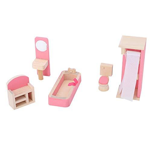 Drfeify Muebles de Juguete, simulación Realista Mini Juego de Muebles de Madera para casa de muñecas Accesorio 1:12(Baño)