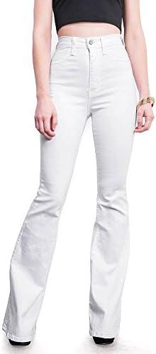 Vibrant Women s Juniors Bell Bottom High Waist Fitted Denim Jeans White 9 product image