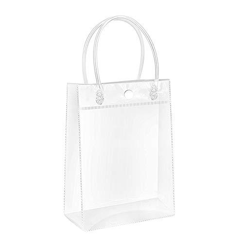 Borsa trasparente da donna, in PVC, trasparente, con spalla, borsa trasparente, borsa da viaggio, borsa da spiaggia per lavoro e shopping, Trasparente, 20x28x10cm