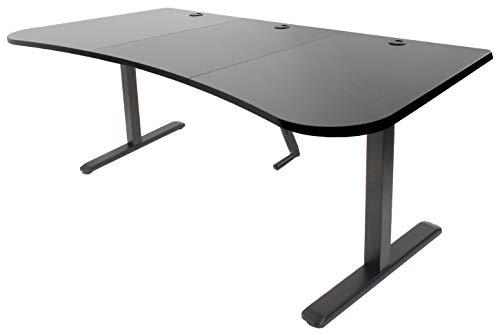 VIVO Black Height Adjustable Stand Up Desk Frame, Crank System, Workstation with 3 Section Table Top | Frame and Desktop Combo (DESK-KIT-1M1B)