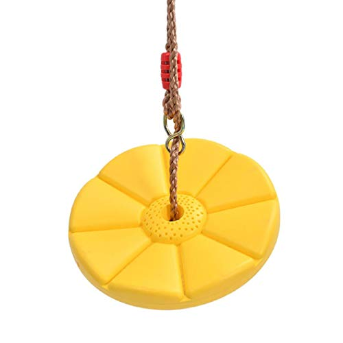 Children Swing Disc Toy Seat, Playground Hanging Garden Play Entertainment Activity, Kids Swing Round Rope Swings Outdoor Yellow