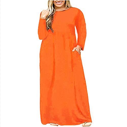 Vestido De Cuello Redondo Plisado De Color SóLido De Moda De OtoñO E Invierno, Falda Larga, Mangas Largas, Ropa De Mujer De Talla Grande