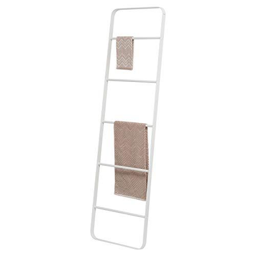 Sealskin Brix Handtuchleiter, Deko-Leiter zum Aufbewahren von Handtüchern, Zeitschriften etc., schwere Ausführung aus pulverbeschichtetem Metall, Farbe: Weiß, Abmessung: 170 x 50 cm