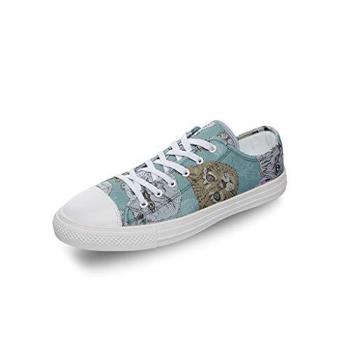 RNGIAN Zapatos de Lona para Hombre y Gato, de Corte bajo, Transpirables, Informales, para Entrenar en el Gimnasio, para niñas, Color Blanco, Talla 33 EU
