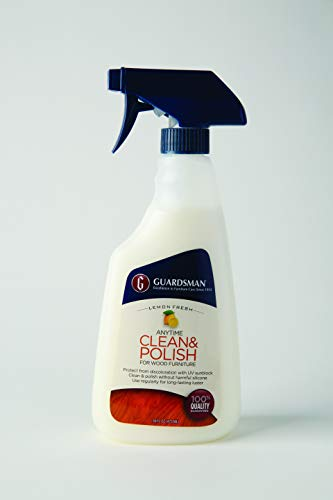Guardsman 461300 Clean & Polish For Wood Furniture-Silicone Free, UV Protection, 16 Oz, 1 Count, Lemon Fresh