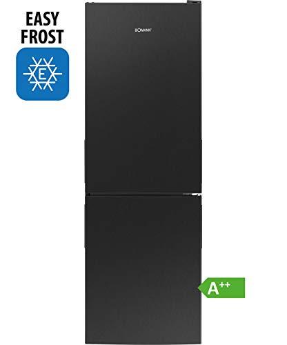 Bomann Kühl-/Gefrierkombination KG 7319 / Easy-Frost / 157 Liter Nutzinhalt / LED-Beleuchtung / Wechselbarer Türanschlag / Schwarz-Edelstahl-Optik