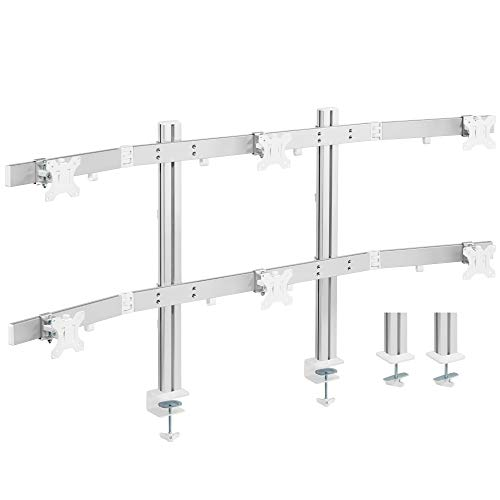 """AVLT Hex 32"""" Monitor Desk Stand - Mount Six (6) 17.6 lb Computer Monitors on Premium Aluminum Articulating Arms - Organize Your Work Surface with VESA 6 Monitor Mount Stand"""