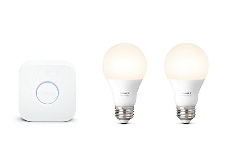 Philips Hue White A19 60W Equivalent Smart Bulb Starter Kit (2 A19 60W White Bulbs and 1 Hub Compatible with Amazon Alexa  Apple HomeKit  and Google Assistant)
