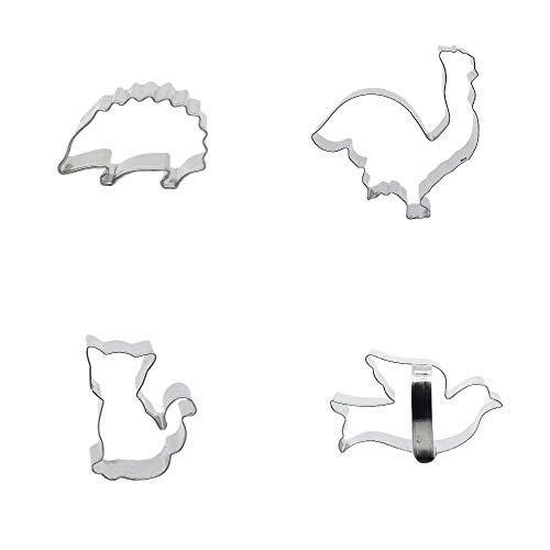 Ausstechformen aus Metall, Taube, Katze, Kätzchen, Hahn, Igel, Kekse, Gebäck, Fondant, Lebkuchen-Kuchenform, 4 Stück