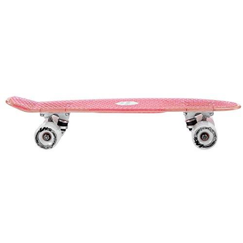 Choke. Juicy Susi Elite Vinyl Skateboard transparent pink mit LED Rollen clear pink fothon, standard