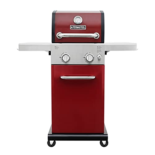 Permasteel PG-A40201-RD 2 Burner Outdoor Patio Gas BBQ Propane Grill, Red