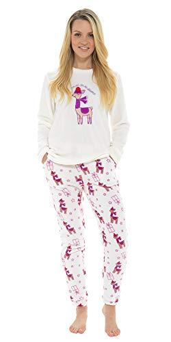 i-Smalls Nettes Lama Design Pyjama Set mit lila Augenmaske (Cream) 12-14