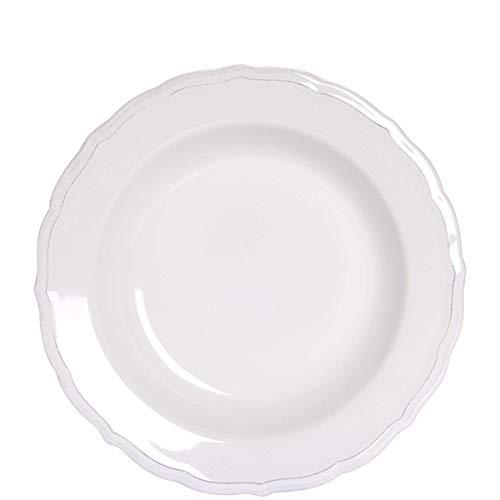 BUTLERS Eaton Place Klassischer Teller aus Keramik Ø 23 cm - Weißer Suppenteller im romantischen Stil - Geschirr-Set
