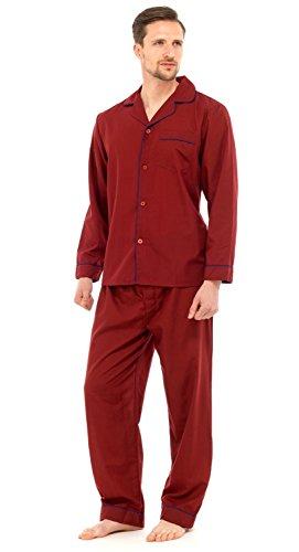 Lora Dora Strong Soul Mens Traditional 2 Piece Pyjamas, Plain Red, M