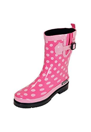 MADSea Damen Gummistiefel Ocean Halbschaft Pink mit Weißen Punkten, Größe:41 EU