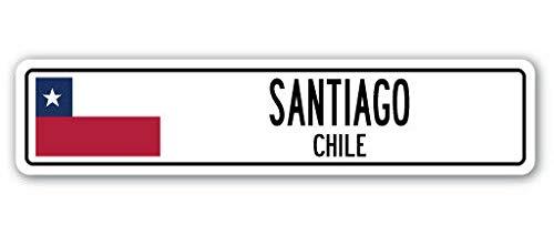TNND New Santiago Chile Straßenschild, Chilenische Flagge, Stadtlandstraßenschild, Straßenschild, 10,2 x 40,6 cm