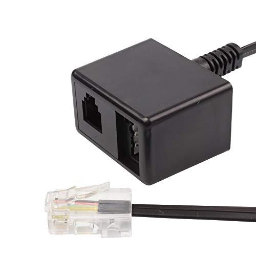 ecabo Analog Splitter/Adapter – Telefonkabel/Netzwerkkabel – RJ45 auf TAE N und RJ11 – Wester-Stecker/Buchse – für Router, Modem, Fax – schwarz – 0,1m