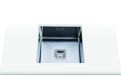 Edesa 950270033 Bajo Encimera | Modelo Makalu BE 40x40 1C Plus R-10 | 1 Cubeta Cuadrada | Fregadero de Cocina 25 cm de Profundidad | Ancho de 50 cm | Acabado en Acero Inoxidable