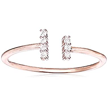 Amazon Collection 14K Rose Gold Plated Sterling Silver Cubic Zirconia Open-Space Adjustable Fashion Stackable Ring, Size…