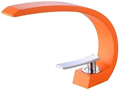 Grifo Lavabo De Latón Grifo De Un Solo Orificio/Moderno Grifo Naranja/Grifo De Baño De Un Solo Orificio