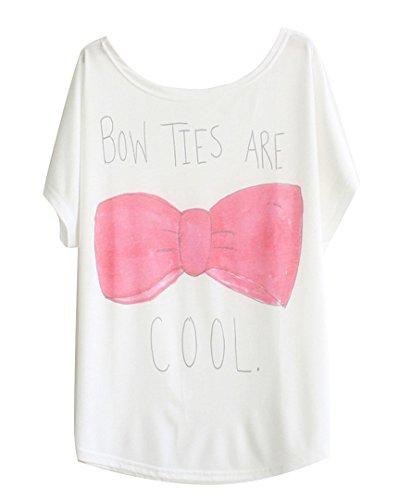 Luna et Margarita Blanco Camiseta de algodón Manga del Batwing con Print Bow Ties Are Cool
