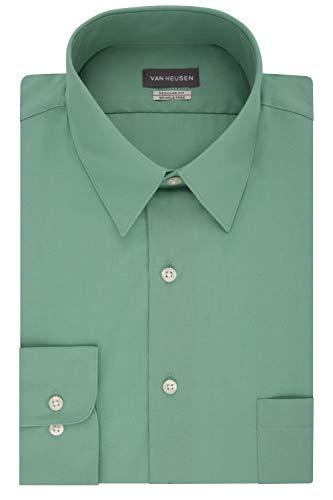 Van Heusen mens Regular Fit Poplin Solid Dress Shirt, Leaf, 17.5 Neck 32 -33 Sleeve X-Large US