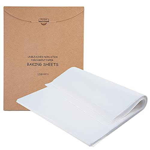 150 Pieces Parchment Paper Baking Sheets 12 X 16 Inch, 30 X 40 cm Non-Stick Parchment Paper for Baking, Cooking, Grilling, Frying and Steaming (150, White)