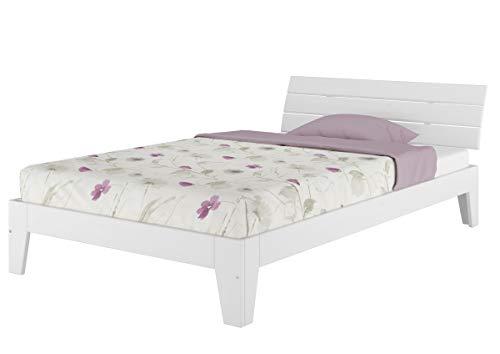Einzelbett mit Rollrost 120x200 Massivholz Kiefer Bettgestell Futon Bett Holzbett Weiß 60.54-12 W