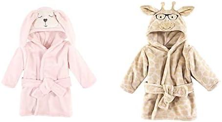 Hudson Baby Girl Plush Animal Face Bathrobe 2-Pack, Modern Bunny Nerdy Giraffe