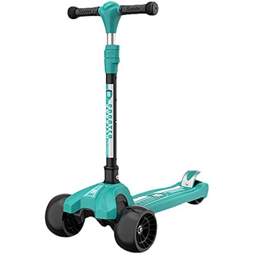 PTHZ Scooters for Kids 3 Wheel Kick Scooter - Manillar Ajustable Lean-to-Steer, Rueda Flashing PU, Cubierta Extra Ancha para niños y niñas de 3 a 12 años,Verde