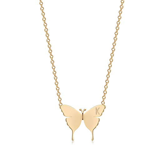 OSIANA Gold Dainty Butterfly Initial Necklace for Women 18K Plated Gold Tiny Cute Letter Pendant Name Alphabet Choker Necklace Minimalist Personality Gift Friendship Jewelry for Her gold