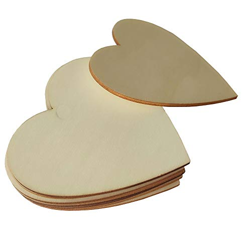 Wood Hearts, Natural Unfinished Wood Heart Cutout Shape,8 inch,4 Pieces