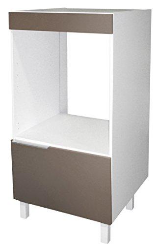Berlioz Creations CD6FT Meuble Demi-Colonne pour Four Encastrable Taupe Haute Brillance 60 x 60 x 118 cm