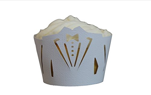 All About Details White Tuxedo Cupcake Wrappers, Set of 12, 9 x 4 x 0.10 inches