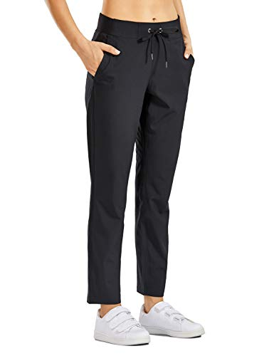 CRZ YOGA Women's Quick Dry Lightweight Travel Pants Elastic Waist Drawstring Casual Lounge Pants with Pockets Black S