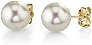 THE PEARL SOURCE 18K Gold AAA Quality Round White Akoya Cultured Pearl Stud Earrings for Women