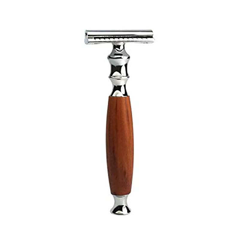 教義振幅翻訳者YAOJIA レトロダブルエッジレイザー安全カミソリは、すべての標準的なカミソリ刃をフィット(シルバー - 木製)