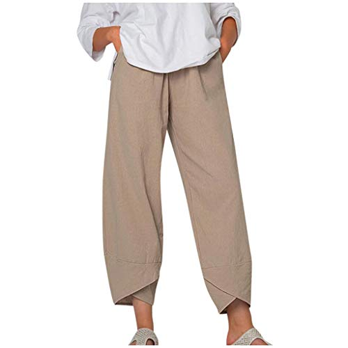 Wide Leg Pants for Women Boho Cotton Linen Elastic Waist Cropped Pants Casual Hippie Trousers Plus Size Harem Sweatpants