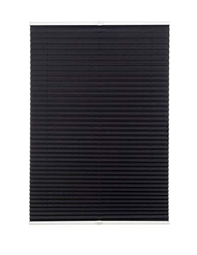 Estor plisado sin agujeros, muchos colores, con soportes de sujeción, protección solar para ventanas y puertas, Negro , 50 x 130 cm