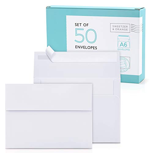 Sweetzer & Orange A6 Envelopes for 4x6 Cards. (50 with Box). White Envelopes Self Seal. Luxury 150gsm For Greeting Card Envelopes, Invitation Envelopes, Postcard Envelopes and Wedding Envelopes