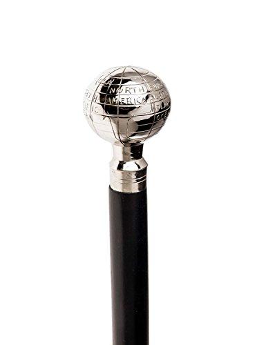 Bastón de palo de peregrinos Larp de bastón plata globo de la tierra