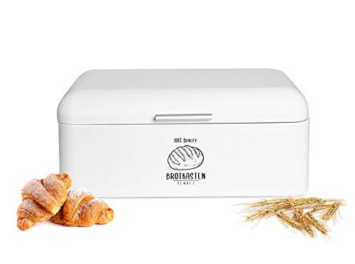 Sendez Großer Brotkasten aus Metall mit Klappdeckel 42x22,5x17cm im Retro Look Rollbrotkasten Brotbehälter Brotbox Weiß