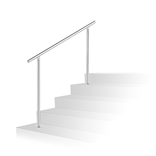 wolketon Edelstahl Handlauf Geländer Bausatz mit/ohne Querstreben für Treppengeländer innen & außen, Balkon (80cm, ohne Querstreben)