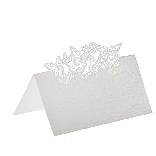 Tarjetas de Lugar Mesa 100 piezas 2 * 9cm Blanco Perla Mariposa Tarjetas de Nombre Lugar para Decoración de Fiesta de Boda