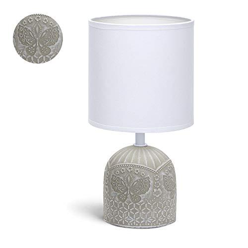 Aigostar - Lámpara de cerámica de mesa, cuerpo color blanco con grabado de mariposas, pantalla de tela color blanco, casquillo E14. Lampara mesita noche, perfecta para el salón, dormitorio