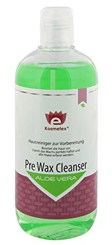 Kosmetex Pre Wax Aloe Vera, Hautreiniger Waxing und Sugaring reduziert das Schmerzempfinden beim Wachsen, Cleanser 500ml