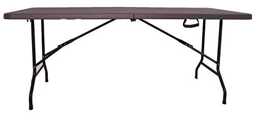 XONE Tavolo Pieghevole Stampo Legno Dark con Struttura in Metallo e Piano in Resina, Dimensioni Tavolo 180x75,5x74cm, per Interni e Giardino
