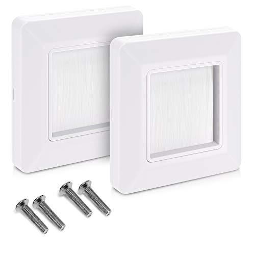 kwmobile 2x Placa de pared con cepillo - Cubierta oculta para tapar cables salidas hoyos y cableado - Set de pasacables para enchufe europeo - Blanco